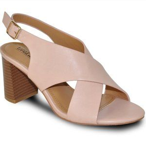 Blush Pink Slingback Cross Heel Faux Leather